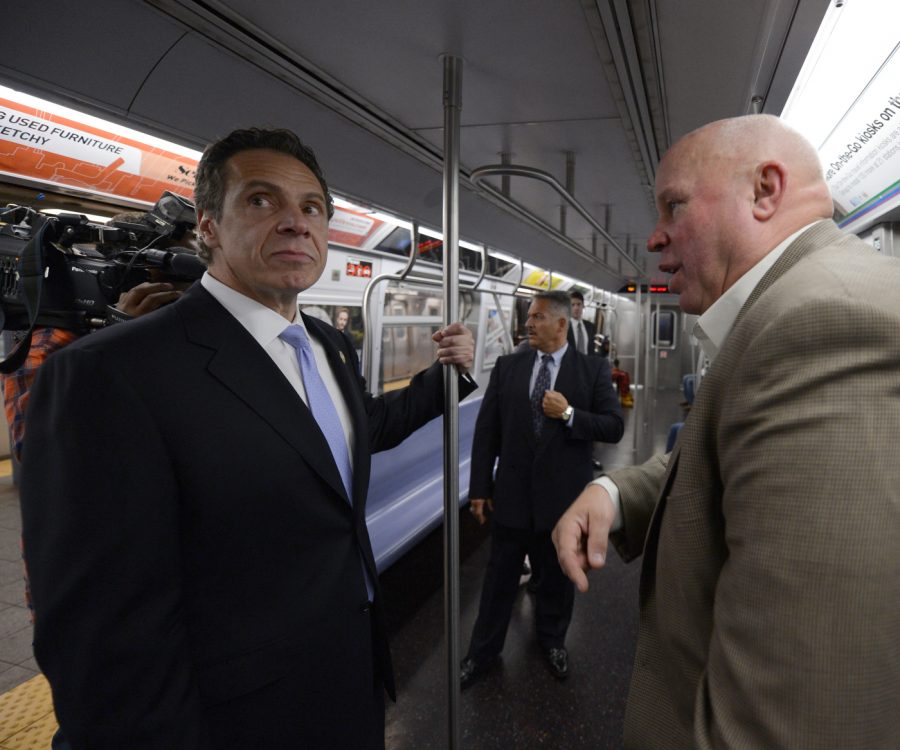 New York Governor Andrew M. Cuomo and MTA Chairman and CEO Thomas Prendergast rode an E train from Chambers St. to 34 St.-Penn Station on Thu., September 25, 2014 to assure New Yorkers that all security precautions are being taken, and that the subway system is safe amid reports of unspecified threats.